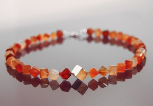 carnelian cubes and silver necklace