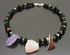 lava, multicoloured freshwater pearls, labradorite and ceramic necklace