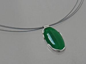 silver moss agate pendant