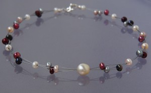 necklace with freshwater and akoya pearls