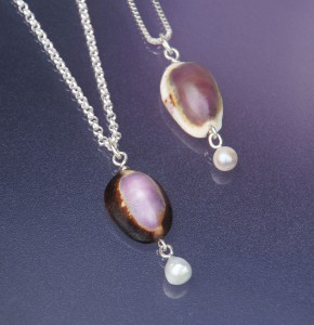 shell pendants with akoya pearls