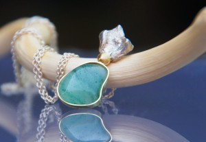 jade pendant with gold and silver