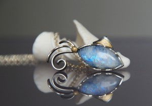 moonstone fish with gold and silver