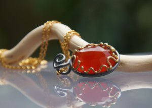 carnelian pendant with gold and oxidized silver