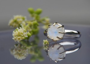 gold and silver moonstone ring