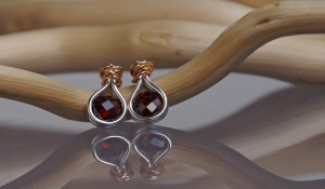 gold and silver garnet earrings